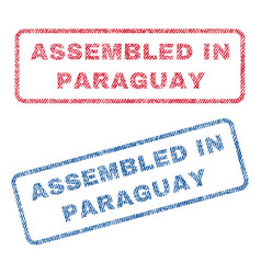 Assembled in paraguay textile stamps vector