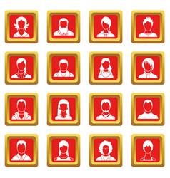 Avatars set icons set red vector