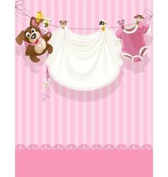 Baby girl pink openwork announcement card vector