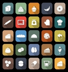Bakery flat icons with long shadow vector