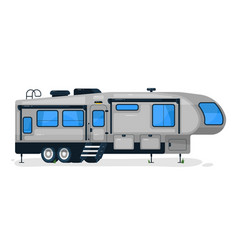 big camping trailer isolated camper vehicle vector image