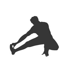 Black silhouette stretching man vector