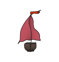 boat with a red sail drawing vector image