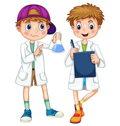 Boys in science gown writing and experimenting vector
