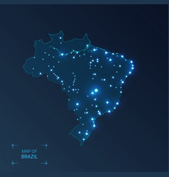 brazil map with cities luminous dots - neon vector image