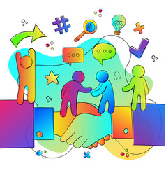 business people team concept with hand shake vector image