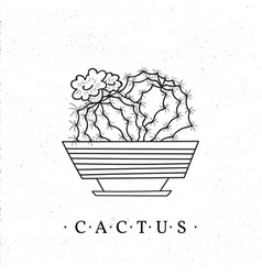 Cactus in a pot hand-drawn cartoon style vector