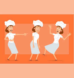 Cartoon flat chef cook woman character set vector