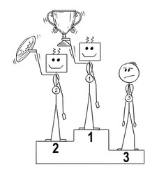 cartoon of three winners on podium first and vector image