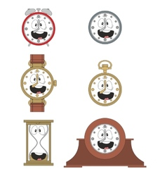 Cartoon smiling clock face smiles 010 vector