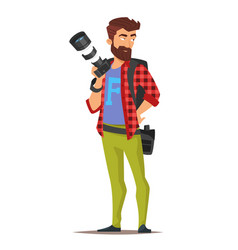 cartoon style character of photographer vector image