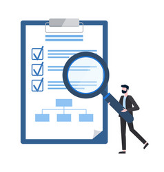 checklist on notepad businessman with magnifier vector image