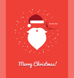 Christmas greeting card with santa head vector