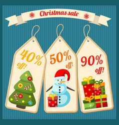 christmas sale with cardboard tags vector image