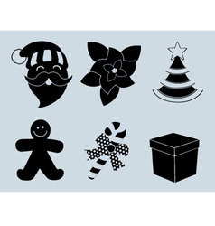 Christmas set of icons collection silhouette vector image