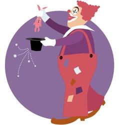 Clown doing a magic trick vector