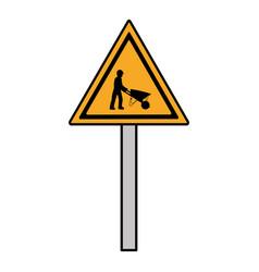 Color triangle caution emblem and laborer vector