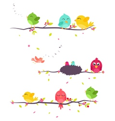 Colorful Birds on beautiful branch vector