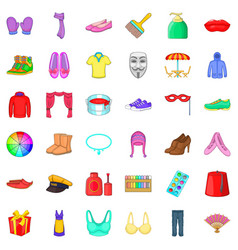 Colorful clothes icons set cartoon style vector