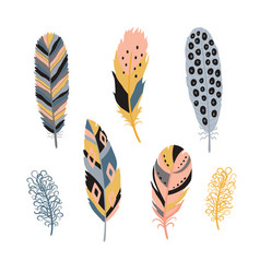 Colorful detailed bird feathers set hand drawn vector