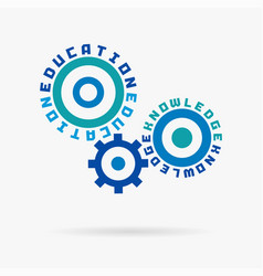 connected cogwheels education knowledge training vector image