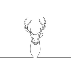 Continuous line drawing reindeer isolated on white vector