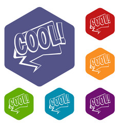 Cool comic text speech bubble icons set hexagon vector