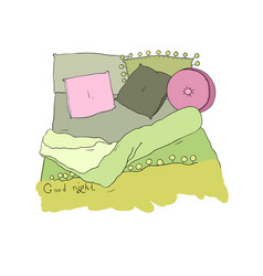 Cozy pillows and a blanket good night vector