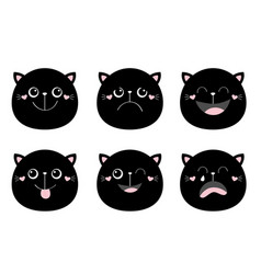 cute black cat set round face head funny cartoon vector image