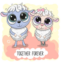 Cute cartoon sheep boy and girl vector