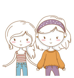 Cute couple girls friends vector