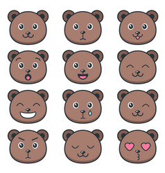 Cute teddy bear faces with different emotions vector