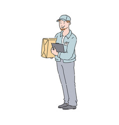 Delivery man or courier with box and clipboard in vector