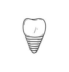 dental implant hand drawn outline doodle icon vector image