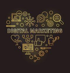 digital marketing heart golden outline vector image