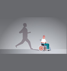 Disabled guy on wheelchair dreaming about recovery vector