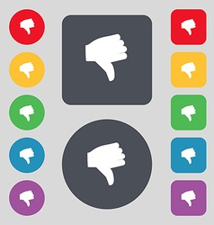 Dislike Thumb down icon sign A set of 12 colored vector image