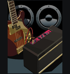 electric guitar with amp and speaker vector image