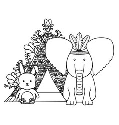 elephant with feathers hat and indian tent vector image