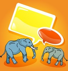 Elephants with speech bubbles vector image