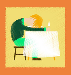 flat shading style icon man sleeping at desk vector image