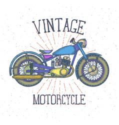 hand drawn vintage motorcycle logo design vector image
