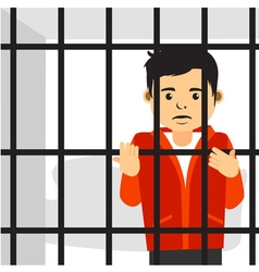 Handsome Guy Inside Jail vector image