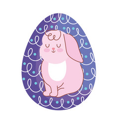 happy easter cute rabbit painted in egg decoration vector image