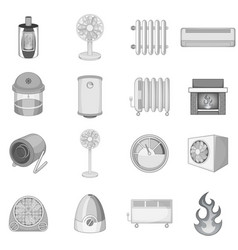 Heating cooling icons set monochrome vector