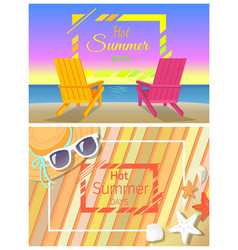 hot summer days promotional bright banners set vector image