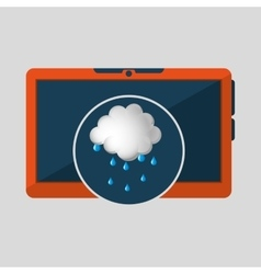 Laptop technology weather forecast cloud rain vector
