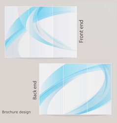 layout triple brochure design with blue by waves vector image