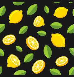 lemon fruits seamless pattern on dark background vector image