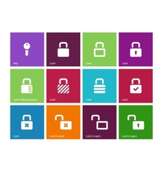 locks icons on color background vector image